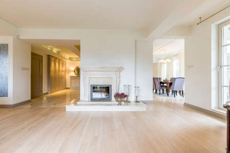 natural light: Stylish bright spacious house interior with classical fireplace Stock Photo