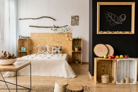 Black And White Bedroom With Wooden DIY Furniture And Creative ...