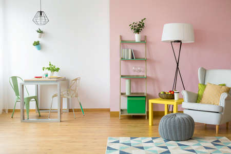 pouf: Modern flat in pink and white with simple light furniture