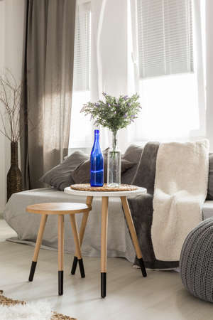 living room window: Modern living room with sofa, pouf, new side tables, window and stylish decorations