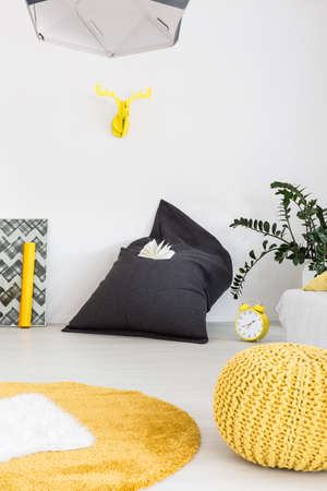 scandinavian people: New style interior in white with grey sack chair, yellow carpet, pouf and stylish decorative details