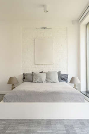 White Bedroom With King Size Bed Grey Bedding And Decorative Custom King Size Decorative Pillows