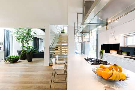 Spacious new villa interior with an open white kitchen, light living room with decorative plants and wooden stairs