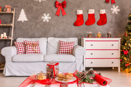 christmas decor: Image of a new living room decorated for Christmas