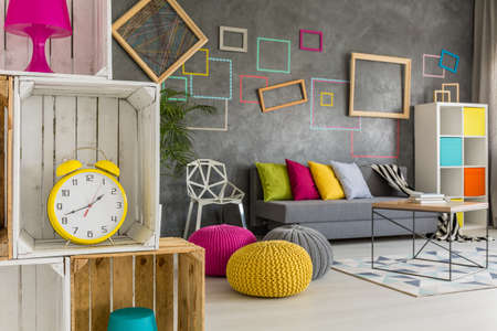 frame wall: Modern student home with diy furniture and colorful decorations