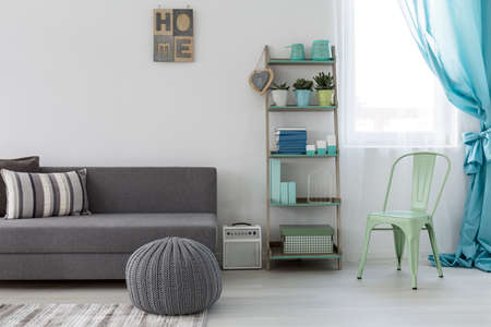 cosy: Shot of a bright living room with a minimalist grey couch