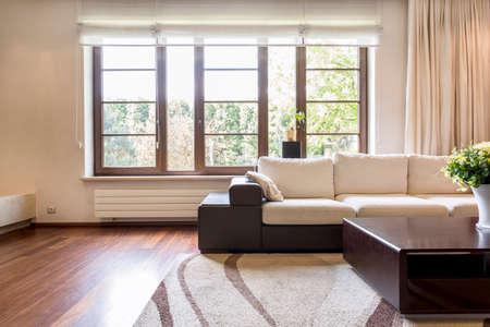 apartment living: Cozy cream living room in new apartment