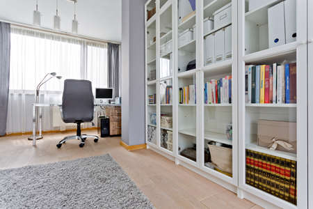 Spacious study room with glass bookcase, chair, desk and large window
