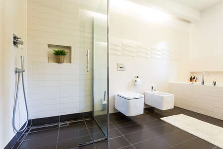 Tiled bathroom interior with the toilet and urinal in rectangular