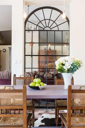 inspiring: Dining room arrangement- inspiring home interior in rustic style
