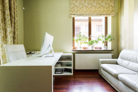 interior home: Cosy, home office interior with the sofa, desk, comfortable armchair and window