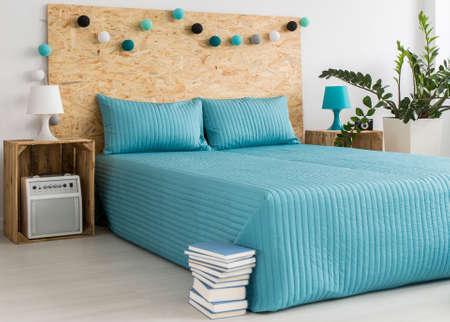 cotton ball: Cotton ball lights in blue modern bedroom
