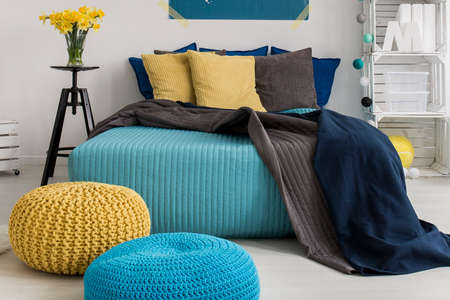 comfortable: Modern interior - blue and yellow bedroom design Stock Photo