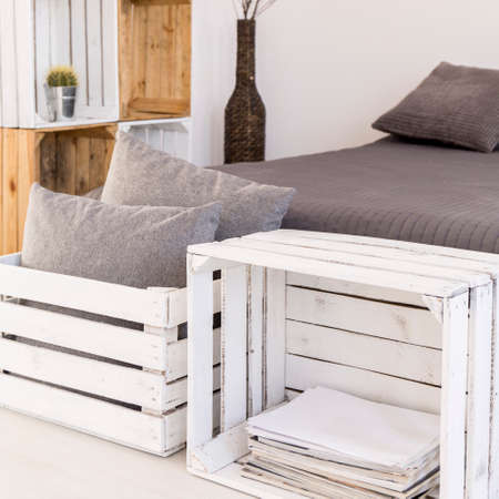 bedroom furniture: Bedroom with furniture made from wooden boxes