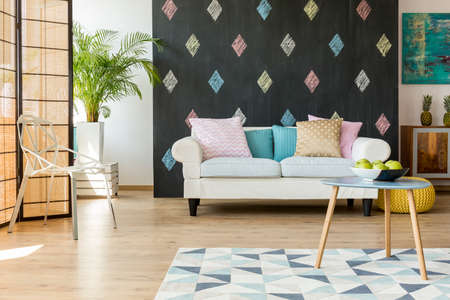 Exotic Living Room With Modern Furniture And Walls In Pastel Colours Stock  Photo   65560779