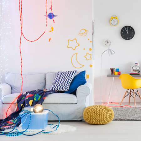 children play area: Shot of a spacious space themed room for children