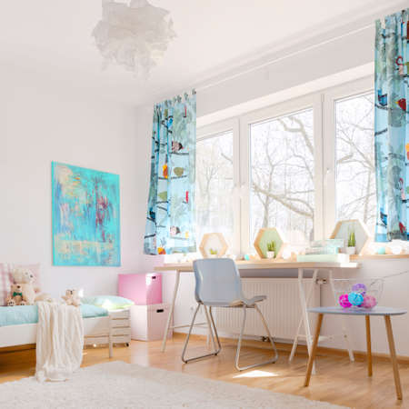 Shot of a cosy childrens room full of light Stockfoto