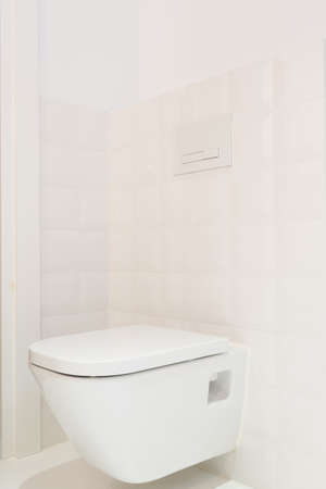 Toilet in bright, minimalist bathroom with ecru tiles