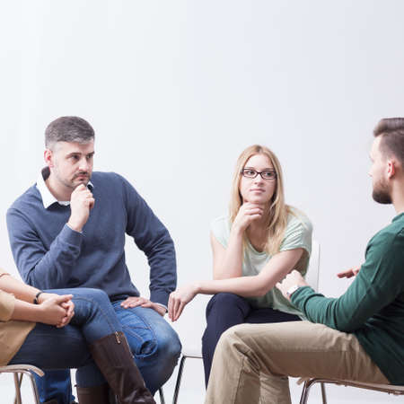 people problems: Young people talking in support group about problems