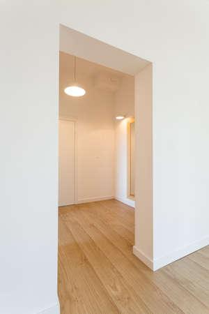 Großzügiger, minimalistischer Saal mit weißen Wänden und Holzboden Standard-Bild