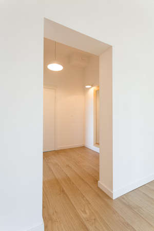 Spacious, minimalist hall with white walls and wooden floor Stock Photo