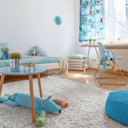 Shot of a spacious blue childrens room
