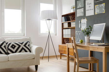 citations: Very bright modern flat with designer floor lamp and renovated cabinet