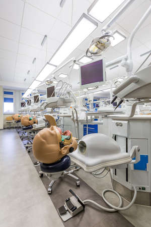 elective: Interior in medical academy, full of technological facilities and manikins