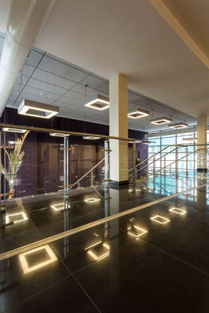 elective: Modern corridor with minimalistic ceiling backlight in square shape, white pillars, and dark tiles on the floor