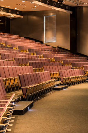 elective: Large space of lecture hall in academy, with modern backlight and wooden seats for listeners