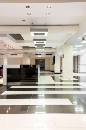 Modern stylish interior at university with white ceiling with backlight, snowy-white and black tiles on the floor and elegant counter Stock Photo