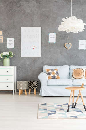 Grey Living Rooom With Sofa, Dresser And Upholstered Stools Stock Photo,  Picture And Royalty Free Image. Image 66034634.