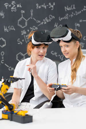 Shot of two technical university students working on a project Stock Photo