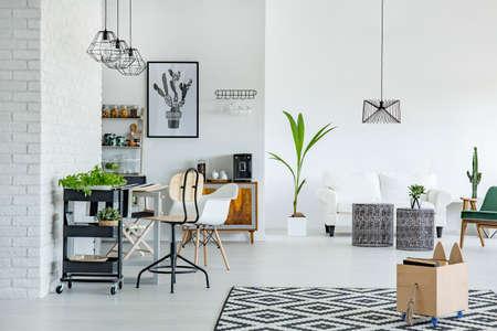 Wit appartement met patroontapijt, bakstenen muur, tafel en sofa Stockfoto