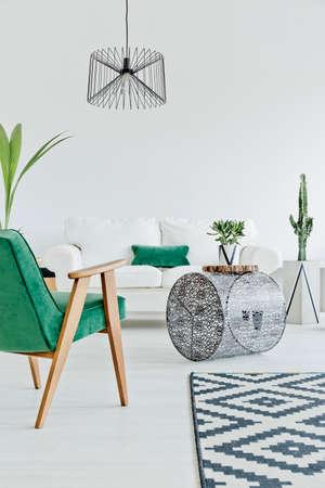 Interni in legno chiaro con sedia, tappeto e divano verde Archivio Fotografico - 66123856
