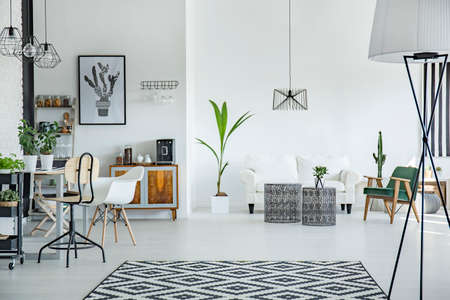 White loft interior in scandinavian style with pattern carpet Zdjęcie Seryjne - 66123724