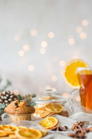 spicey: Decorated table with Christmassy treat, muffin and tea