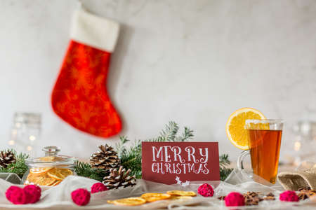 spicey: Christmas table and Christmas stocking on the wall