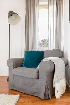 comfort room: Shot of a grey armchair and a lamp in a stylish living room