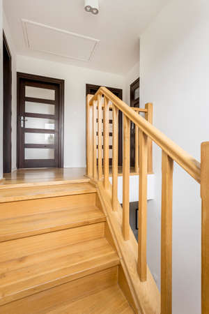Shot of a wooden staircase in a modern house