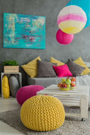 hassock: Colorful decorations and furniture in positive energy room