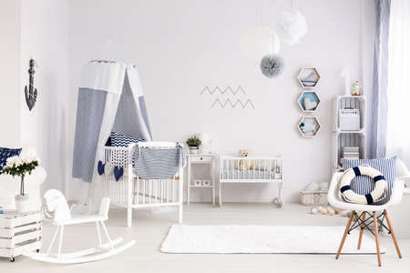 lightsome: Room for a newborn baby with the cradle and baby bed