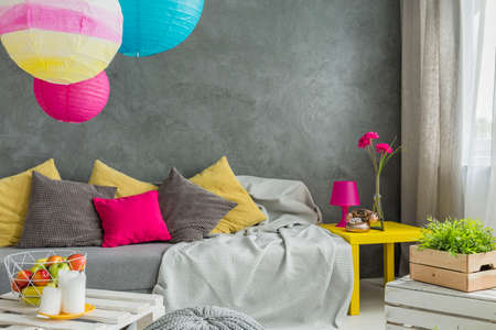 Colorful Decorative Pillows And Paper Lanterns In Teenager Room Interesting Teenage Decorative Pillows