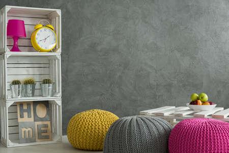 interior home: Refresh home interior- bright color decorations in concrete room