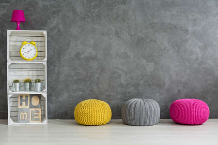 hassock: Creative hand made furniture- wool and apple crates