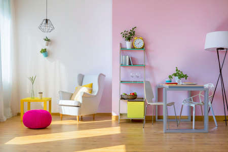 Cozy Pastel Living Room Full Of Shadows Stock Photo, Picture And Royalty  Free Image. Image 67106340.