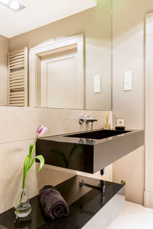 lightsome: Modern white bathroom with dark sink and a large mirror