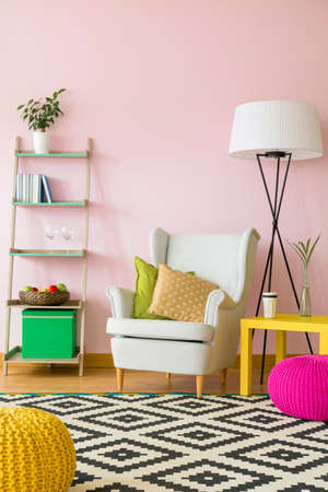 living room furniture: Cozy living room interior with colorful furniture Stock Photo