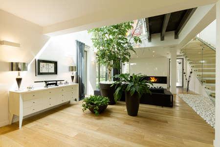 Ruim glas en stenen trap met witte commode, potplanten en dakraam