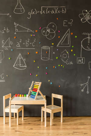 Prodigy: Classroom with blackboard and abacus for little children